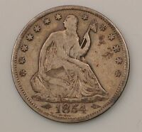 1854 P SEATED LIBERTY SILVER HALF DOLLAR G22