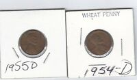 TWO COIN LOT 1954D & 1955D  LINCOLN WHEAT EAR CENTS BN