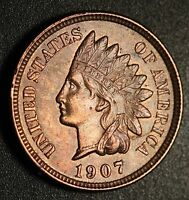 1907 INDIAN HEAD CENT   AU UNC   WITH REPUNCHED DATE SNOW 54 RPD        A