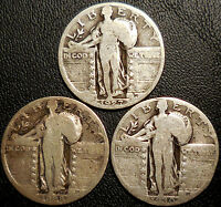 LOT OF 3 STANDING LIBERTY 90 SILVER QUARTERS 1927 1928 1930