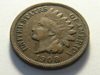1908 S INDIAN HEAD CENT VF KEY DATE SMALL NICKS