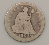 1853 LIBERTY SEATED QUARTER DOLLAR VARIETY 2 ARROWS & RAYS G66