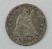 1853 P SEATED LIBERTY SILVER QUARTER DOLLAR Q55