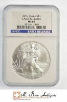 MINT STATE 69 EARLY RELEASES 2010 AMERICAN SILVER EAGLE DOLLAR - NGC GRADED YC064