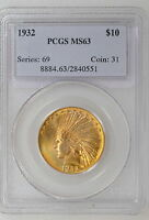 1932 P $10 INDIAN GOLD EAGLE. PCGS MS63. GREAT LUSTER & FLASH   I 4544