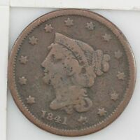 1841 BRAIDED HAIR LARGE CENT Z56