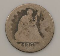 1853 LIBERTY SEATED QUARTER DOLLAR VARIETY 2 ARROWS & RAYS G70