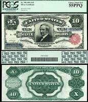 1891 $10 SILVER CERTIFICATE TOMBSTONE NOTE PCGS GRADED AU55PPQ