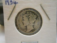 3 DIFFERENT MERCURY DIMES 1934 1934 D AND 1940.   AAH