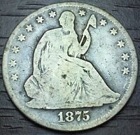 1875 KEY DATE SEATED LIBERTY HALF DOLLAR 90 SILVER LOT     VF   982