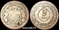 1865 2 CENT PIECE XF/F/G TWO CENT COIN 404