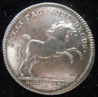 FRANCE 1715 1774  REARING HORSE  KING'S LIVERIES JETON SILVER