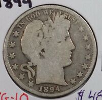 1894 50C BARBER HALF DOLLAR GOOD CONDITION 145570