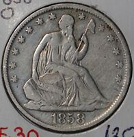 1858 O 50C LIBERTY SEATED HALF DOLLAR FINE CONDITION 144115