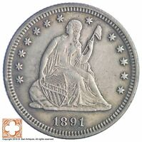 1891 SEATED LIBERTY SILVER QUARTER 237