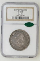 1807 DRAPED BUST HALF DOLLAR NGC EXTRA FINE 45 CAC STONE ORIGINAL SURFACES - 93575-4