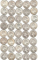WASHINGTON 90 SILVER QUARTER ROLL 40 COINS 1934D TO 1964 GREAT INVESTMENT