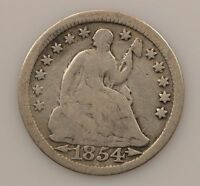 1854 LIBERTY SEATED HALF DIME ARROWS AT DATE G83