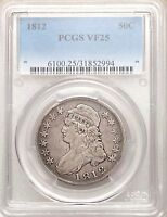 1812 CAPPED BUST PCGS VF25 SILVER HALF DOLLAR NICE TYPE COIN OVERTON