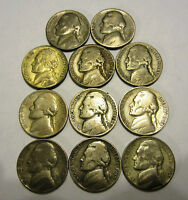 ALL 11 SILVER WAR NICKELS 1942 45  NICE SHAPE FOR THEIR AGE LAST SET