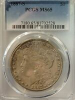 MORGAN DOLLAR 1887-S MINT STATE 65 PCGS  SILVER, BUSINESS   1887-S