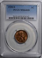 1930-S 1C RB LINCOLN CENT PCGS MINT STATE 64RB 163714