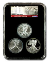 2016 AMERICAN SILVER EAGLE 30TH ANNIVERSARY 3 COIN SET   MINT STATE BURNISHED