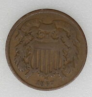 1867 GOOD/VG CONDITION 2C TWO CENT PIECE.  EVEN COLOR - I-5566 F
