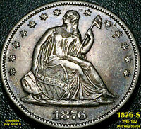 1876 S LIBERTY SEATED HALF DOLLAR OPEN BUD SMALL S WB 102 AU