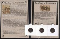 1 DUTCH DUIT 1ST NEW YORK PENNY IN DISPLAY WITH STORY OF THE COIN COA HIGH GRADE