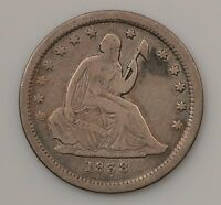 1838 SEATED LIBERTY SILVER QUARTER DOLLAR G97