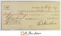 1799 $37.53 PHILADELPHIA BANK OF NORTH AMERICA CHECK 1700'S VINTAGE 533