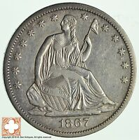 1867 S SEATED LIBERTY SILVER HALF DOLLAR 2453
