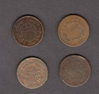 US 2 CENT 4 COIN LOT CIRCULATED COINS 2 1864 1865 1866