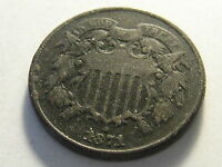 1871 TWO CENT PIECE VF DARK