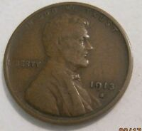 1913S  F-VF  LINCOLN CENT   L1124  SHIPS FREE