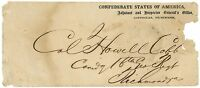 CSA ADJUTANT AND INSPECTOR GENERAL'S OFFICIAL COVER TO COL HOWELL COBB, CAT $400