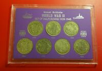THE WWII YEARS HALFCROWNS OF WORLD WAR TWO II 1939 1945 COIN GIFT SET