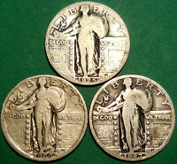 LOT OF 3 STANDING LIBERTY QUARTERS 1925-P 1926-S 1927-P 90 SILVER