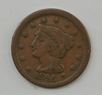 1846 BRAIDED HAIR LARGE CENT   STRONG COIN Q21