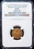 COSTA RICA: REPUBLIC COUNTERSTAMPED GOLD ESCUDO ND 1849 57 XF45 NGC.