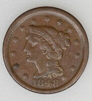 1848 VG CONDITION BRAIDED HAIR LARGE 1C CENT. NICE STRIKE & COLOR   I 5786