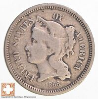 1868 THREE CENT PIECE   COPPER NICKEL 3902