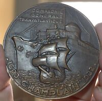 DECO 1932 FRENCH CHAMPLAIN 1603 1932 BRONZE MEDAL 66MM