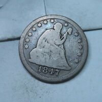 1847 SEATED LIBERTY QUARTER // FINE VG // Q821