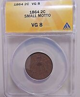 CERTIFIED KEY1864 2 CENT SMALL MOTTO VARIETYANACS VG8