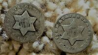 2 OLD U.S. SILVER THREE CENT PIECES 3 CENTS 3C DATED 1851 1851O