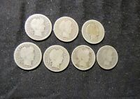 LOT OF 7 BARBER SILVER DIMES   1899 1901 1907 1910 1911 1913 1916 S