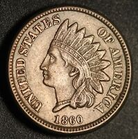 1860 INDIAN HEAD CENT   WITH LIBERTY & NEAR 4 DIAMONDS   AU UNC