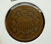 1871 TWO 2 CENT PIECE COIN US